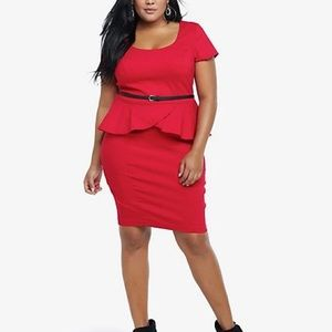 Torrid Red Peplum, Belted Dress